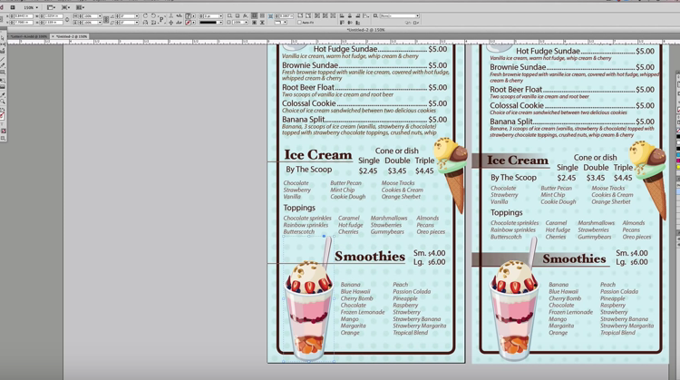 takeout menu layout in photoshop